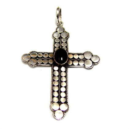 Bali Cross with Stone Pendant Sterling Silver 561134