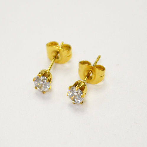 4mm Ro Gold Plated CZ Earrings-10 Pairs
