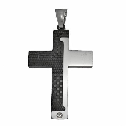 Cross 2 Tone Black Plated Pendant86-1852B