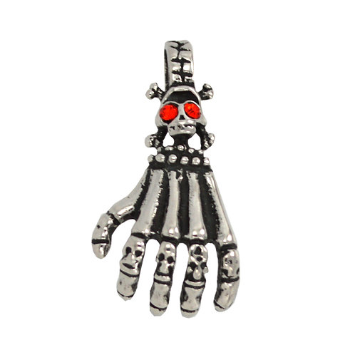 Skull Hand with Red Eye Pendant Stainless Steel (20x36mm)