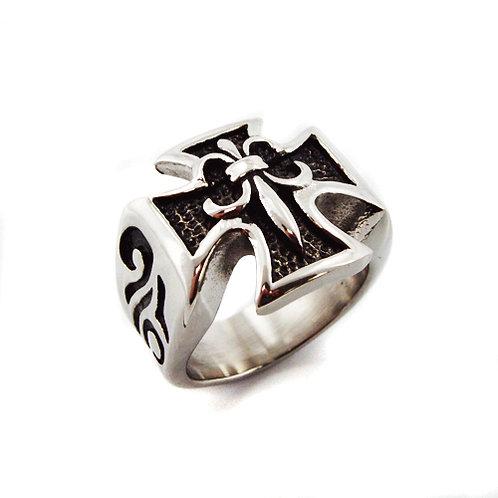 Maltese Cross Fleur De Lis Ring (20x20mm) 81-982