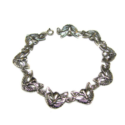 Cat Face Sterling Silver Bracelet 542044