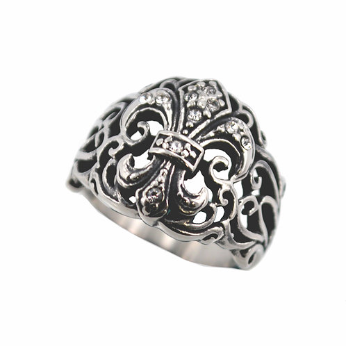 FLEUR DE LIS WITH STONE RING (18mm) 81-1160