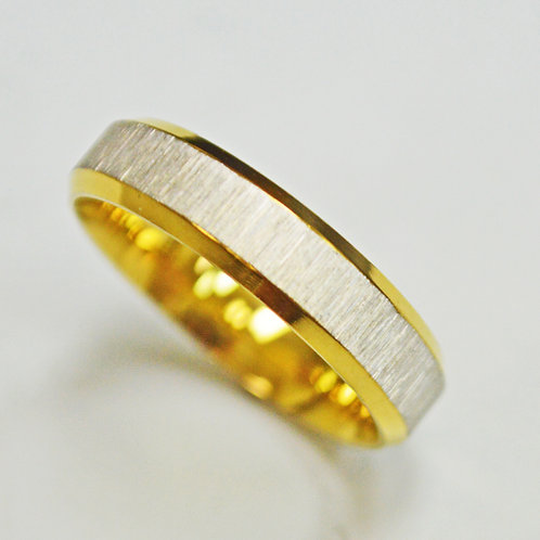 Two Tone Gold Mesh Bevel Ring (5mm) 81-363-5