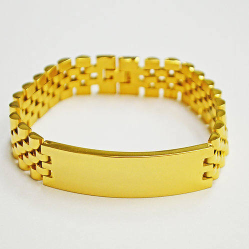 Designer Inspired ID Gold Plated Bracelet 84-1783G-16