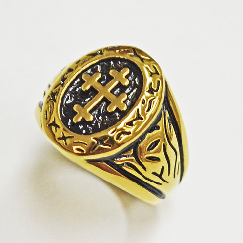 CROSS GOLD IP PLATE RING (18mm) 81-1322G