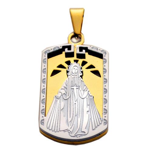 VIRGIN MARY 2 Tone Gold Pendant 86-1856-2T