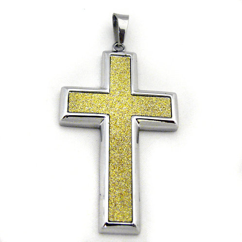 Two Tone Gold Glitter Cross Pendant Stainless Steel