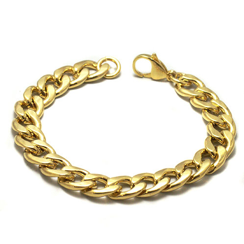 9MM GOLD IP PLATED CURB BRACELET 84-162G-9