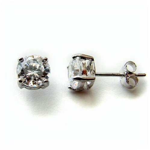 Round CZ Stud Casting Earrings