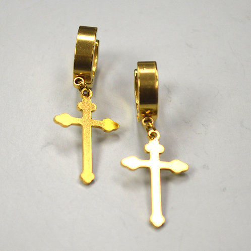 Dangling Cross Huggies Gold Plated 83-626G-1