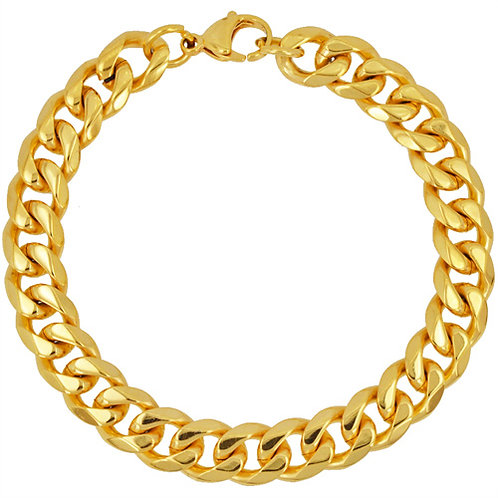 9MM CUBAN BEVEL GOLD IP PLATED BRACELET 84-239G/BV-9