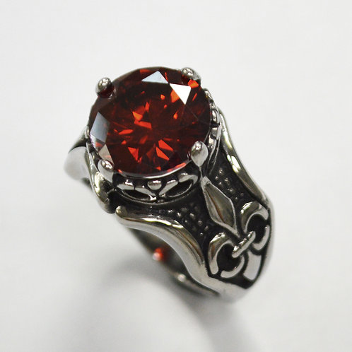 Red CZ Stone Stainless Steel Ring 81-1408