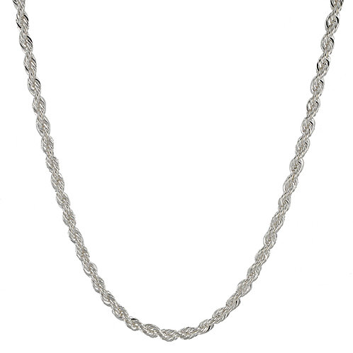 3mm Rope Silver Plated Stainless Steel