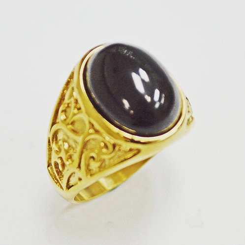 BLACK STONE GOLD PLATED RING 81-1226G-Blk