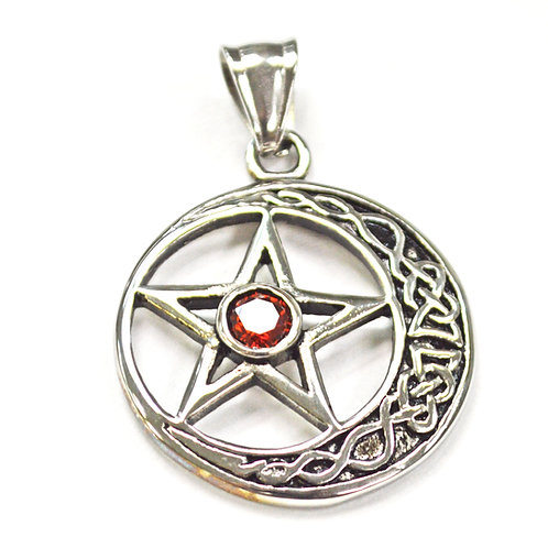 CRESCENT STAR with  Red Stone Pendant 86-1722