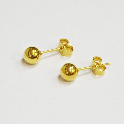 4MM GOLD BALL STUD EARRINGS-10 PRS