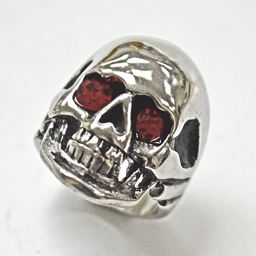 Skull with Red Eye Stainless Steel Ring (20x29mm) 81-504-Red