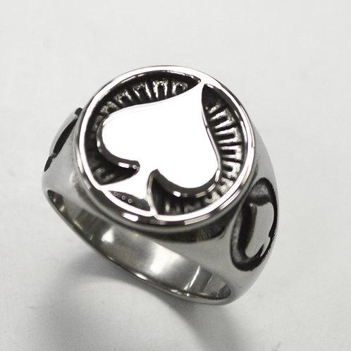 Spade Symbol Stainless Steel Ring 81-1398
