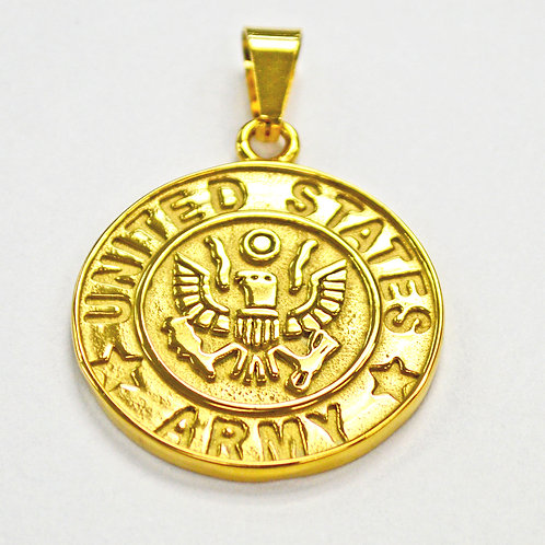 US Army Medallion Pendant Gold IP Plate (30mm)