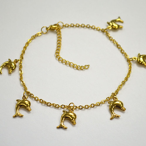 Dangling Dolphin Gold IP Plated Anklet 82-194G