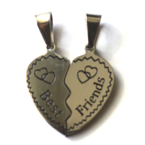 Best Friends Heart Puzzle Pair Pendant Stainless Steel (28mm)