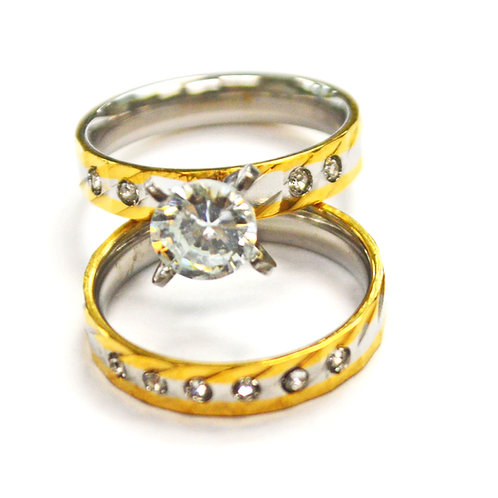 GOLD WEDDING  2 PIECES SET RING (4x7mm) 81-680