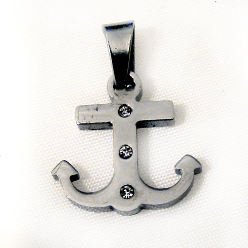 CZ Anchor Pendant Stainless Steel 86-1117