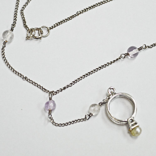 Amethyst Bead Necklace with Ring Pendant