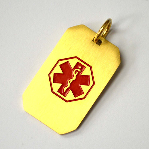 Medical Tag Gold IP Plated Pendant 86-2437G