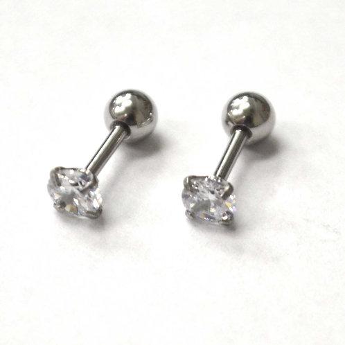 Screw Back CZ Stud Earrings (4mm)83-818-2