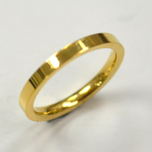 2mm Flat Plain Band Gold Plated Ring 81-827-2