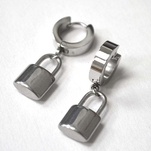 Padlock Stainless Steel Huggies Earrings 83-773S-1