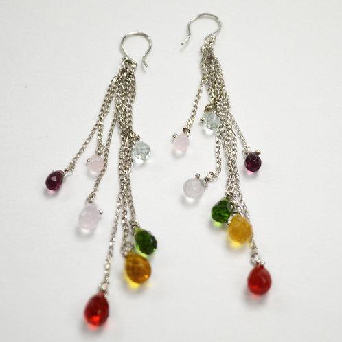 Crystal Stones Sterling Silver Earrings 534047
