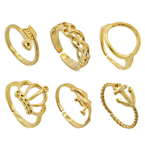 Assorted Adjustable Gold Brass Ring (12 pcs) BTR-02
