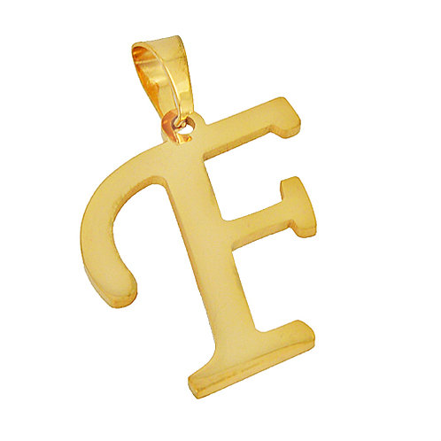 F Initial Pendant Gold IP Plated Stainless Steel