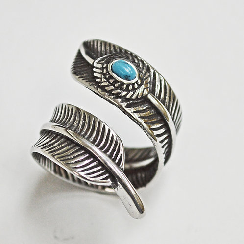 Leaf Stainless Steel Ring with Turquoise 81-1215-TQ