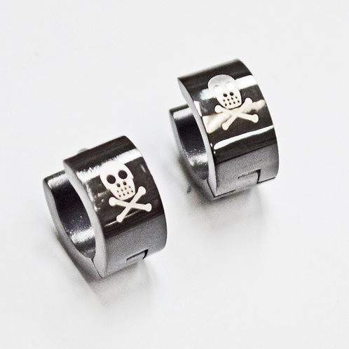 BLACK SKULL HUGGIE EARRINGS 83-712B