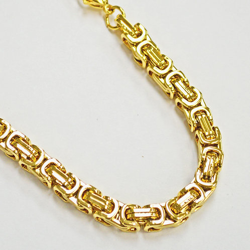 GOLD IP PLATED BYZANTINE NECKLACE 7MM