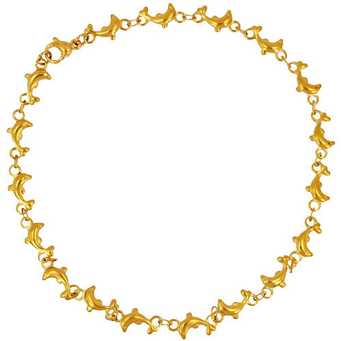 Dolphin Gold IP Plated Anklet 82-136G