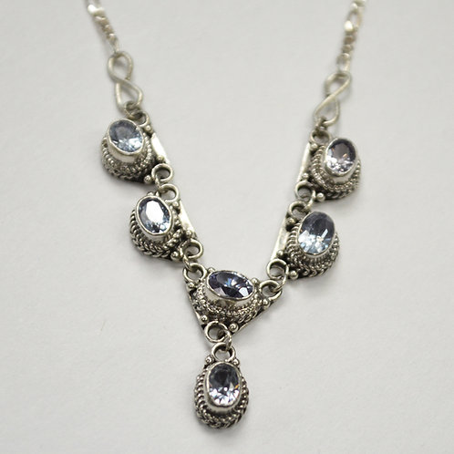 Faceted Stone Necklace Sterling Silver 551019