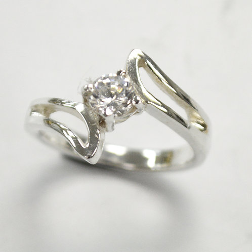 CZ Stone Ring Sterling Silver 512065