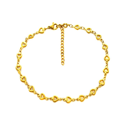 Heart Cut Out Gold IP Plated Anklet 82-182G