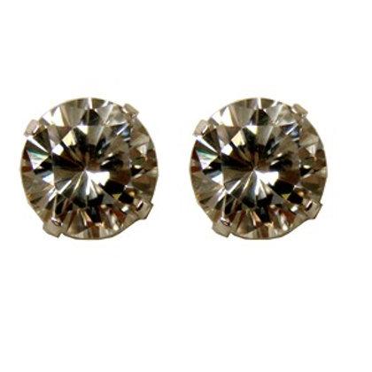 9 m. Round CZ Stud Earrings Clr