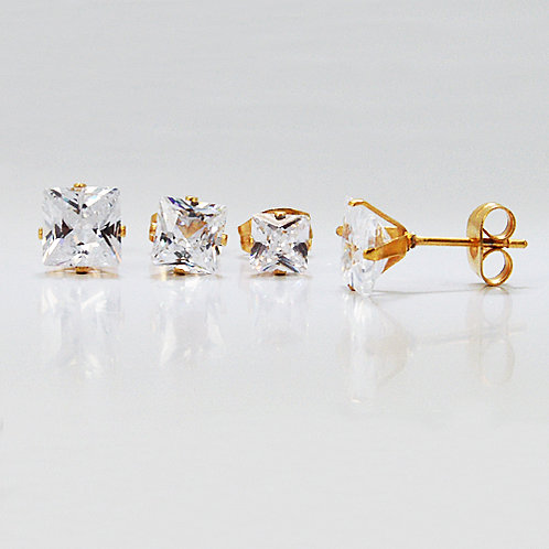 5mm Sq Gold Plated CZ Earrings-10 Pairs