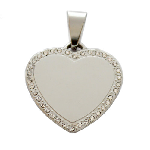 Heart Dog Tag Pendant (33x33mm)
