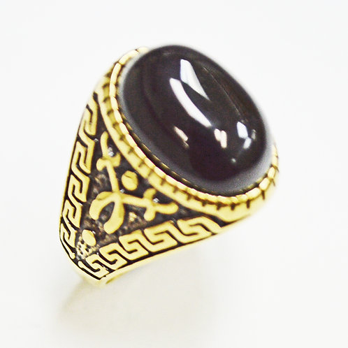 Black Stone Gold IP Plate Ring (11x31mm) 81-1185G-Blk