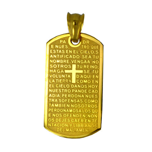 PADRE NUESTRO Gold Plated DOG TAG 86-1891G