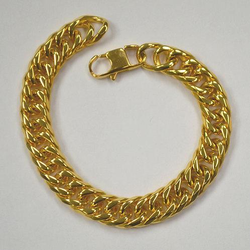 """14mm Rombo Gold IP PlatedBevel Bracelet 8.5"""""""