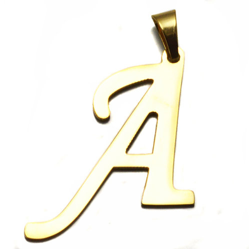 A Initial Pendant Gold IP Plated Stainless Steel
